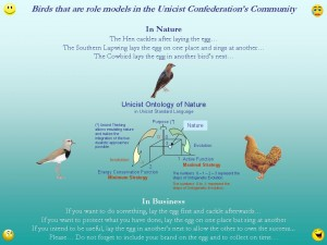 Birds that are role models in the Unicist Confederation's Community