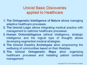 Unicist Basic Discoveries applied to Healthcare